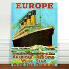 "Stunning Vintage Travel Poster Art ~ CANVAS PRINT 36x24"" ~ Europe Cruise Ship"
