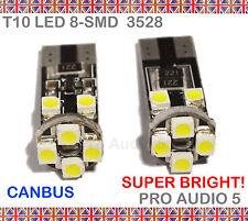 2x T10 8 smd led blanc 501 W5W canbus sans erreur côté lumière ou interor voiture ampoule