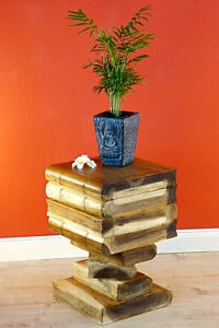 Side Table Wood Books Stack Stool Podium Bücherhocker Night Table