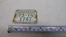 Vintage bicycle license plate tag Broomfield Colorado 1973-74 2 x 2 3/4""