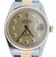 Rolex Datejust 2Tone 18K Yellow Gold & Stainless Steel Champagne Diamond 16013