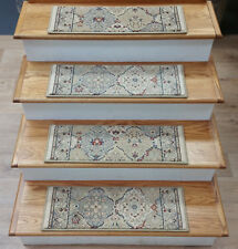 """Ivory Stair Tread Set of 13 Traditional Non Slip Carpet Treads 26""""x9"""" Rug Depot"""