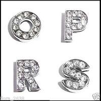 Lettre O P R S, initiale argenté et strass transparent bracelet, bijou fantaisie