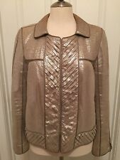 J. Mendel Metallic Leather & Silk Gazzar Jacket Size 8