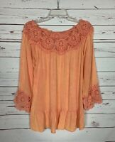 Entro Boutique Women's Sz S Small Peach Coral Lace Long Sleeve Spring Blouse Top