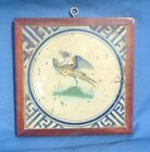 17thC Dutch Delft Polychrome Bird Framed Tile Wan-Li Corners Peacock Pheasant