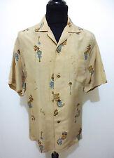 AUTH HAWAII VINTAGE 50s WWII Camicia Uomo Seta Man Hawaian Silk Shirt Sz.XL