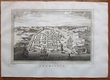 BELLIN: Beautiful Town View of Santo Domingo Dominican Rep. - 1750