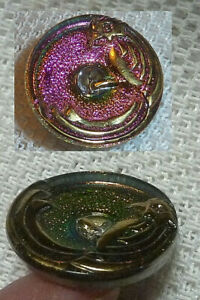 """PARROT BORDER PAINTED BACK OVER SALTS INTERACTIVE MULTI COLOR GLASS BUTTON 7/8"""""""