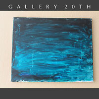 ABSTRACT EXPRESSIONIST ORIG. OIL PAINTING! THE CRYING SEAS BLUE ECOLOGY ART VTG