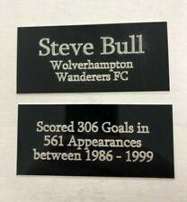 Steve Bull Wolves Legend - 110x50mm Engraved Plaque Set for Signed Shirt Framing