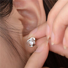1Pair Nice Women's Silver Plated Crystal Shiny Ear Stud Earring Jewelry Fashion