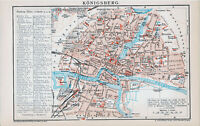 Königsberg 1894 orig Stadtplan + Lex.-Artikel Festungswerke Rossgarten Haberberg
