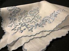 "#7949🌟PREMIUM Vintage 30s Madeira Bridal Blue Monogram ""J"" Wedding Handkerchief"