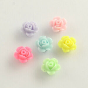 80+ Color Plated Opaque Pastel Mix Rose Flower Beads Jewelry Crafts 13mm USA