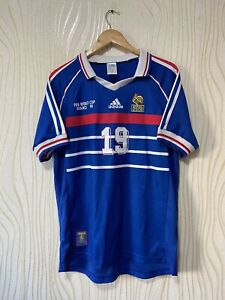FRANCE 1998 HOME FOOTBALL SHIRT SOCCER JERSEY ADIDAS REPLICA # 19 KAREMBEU