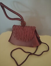MONI COUTURE Evening Purse Shoulder Bag Wristlet Beads Silky Brown NEW