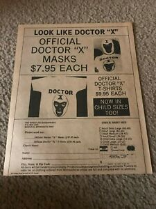 """Vintage DOCTOR """"X"""" WRESTLING MASK SHIRT Wrestling Print Ad AWA JAPAN DICK BEYER"""