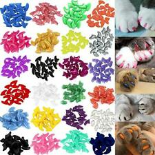 140pcs Cat Nail Caps Colorful Pet Soft Claws Covers Glue & Applicators Medium
