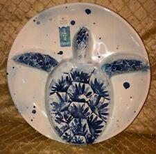 NWT SIGRID OLSEN Blue Seahorse Turtle Starfish Coral Oval Melamine Platter Plate