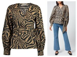 Ganni wrap cotton blouse with puffy sleeves sz S