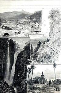 Sri Lanka 1881 CEYLON MASKELUJA RANGBODDLE FALLS DAGOBA at ANURAJAHPOORA Print