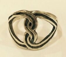 Binding Love Two Hearts .925 Sterling Silver Ring-9 Weight 4grams