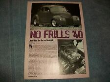 """1940 Ford Standard Coupe Custom Street Rod Article """"No Frills '40"""" 1939"""