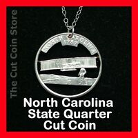 North Carolina Cut Coin Necklace 25¢ NC Quarter Kitty Hawk Wright Brother flight