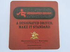 Beer Pub Bar Coaster <> Anheuser-Busch <> A Designated Driver Make It Standard!