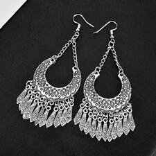 Vintage Bohemian Hook Carved Alloy Tassel Dangle Ethnic Tribal Earrings LC