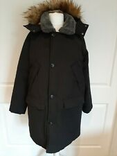 Asos Parka Padded Parker Coat Black - Size Medium Faux Fur Collar Removable Hood