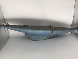 "Antique hand crafted blue wood 24"" distressed hull"