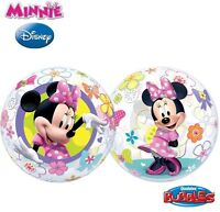 """NEW Disney Minnie Mouse 22"""" Qualatex BUBBLE Balloons Birthday Party Supplies"""