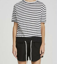Bassike Stripe Drawstring Rib T Shirt (XS) + Cotton Canvas Mini Short (0) Set