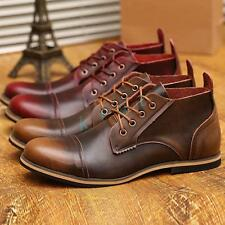 Mens Oxford Ankle Boots Biker Leather Formal Dress Shoes 2 Color US Size 5-11