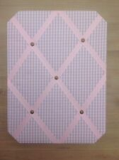 Pink Gingham And Ribbon Wall hung Fabric Notice board 30x40 Cms