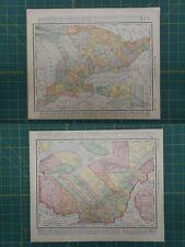 Ontario Quebec Canada Vintage Original 1896 Rand McNally World Atlas Map Lot