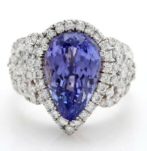 8.25 Carat Natural Blue Tanzanite and Diamonds in 14K Solid White Gold Ring