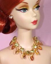 Barbie Dreamz AMBER PETAL Beads & GOLD DIAMOND Necklace w/ Earrings Doll Jewelry