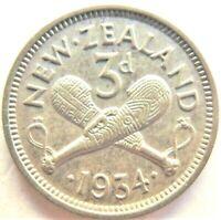 1934 NEW ZEALAND George V THREEPENCE, grading EXTRA FINE.