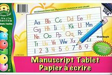 ABC MANUSCRIPT TABLET Upper & Lowercase Letters w/Writing Guide PreK - 2nd Grade