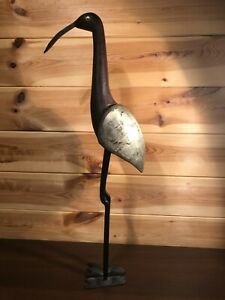 Rustic Vintage Wooden and Inlaid Metal Heron / Egret / Crane Handmade Figurine