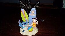 Disney Lilo And Stitch Polynesian Resort Figure Photo Holder Hawaiian Beach