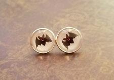 Black and white bat Cabochon Stud Earrings,Halloween,Earring Post