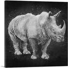 ARTCANVAS Black Rhinoceros Africa Black White Canvas Art Print