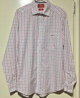 R.M. WILLIAMS MENS Red Blue White Italian Fabric Superfine Cotton Check Shirt L