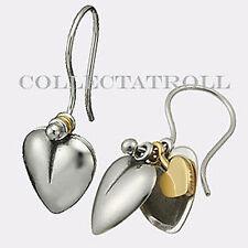 Authentic Trollbeads Sterling Silver & 18K Gold Secret Heart Earrings  16601