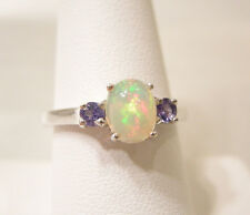 Ethiopian Welo Opal/Tanzanite Ring, Platinum, 925 Sterling Silver, Size 8, New