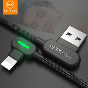 MCDODO LED 90° Fast Charging Data Cable For iPhone For iPad USB Charger L Shape